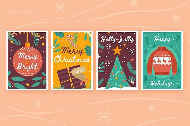 Collection De Cartes De Noël Dessinées à La Main Vecteur gratuit