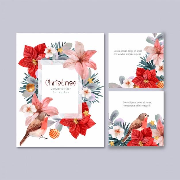 Collection de cartes de noël florales Vecteur Premium