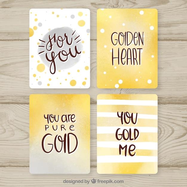 Collection De Cartes à Paillettes Avec Couleur Dorée Vecteur gratuit
