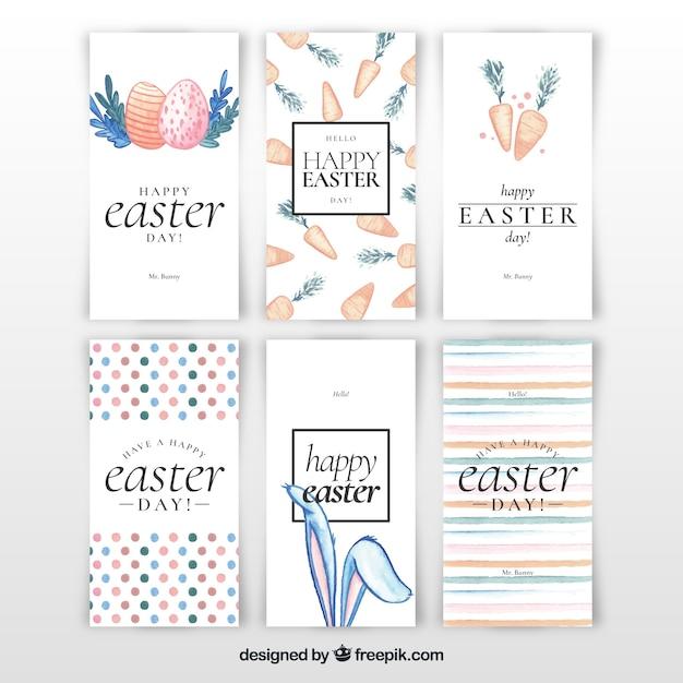 Collection de cartes de pâques aquarelle Vecteur gratuit