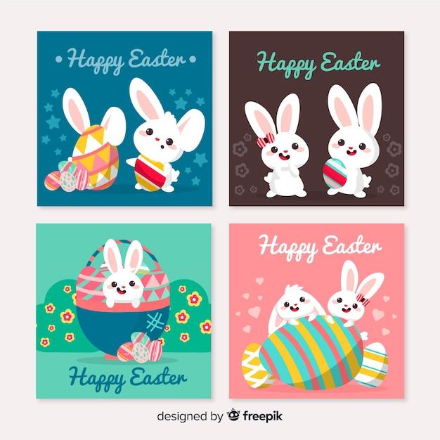 Collection de cartes de pâques dessinée à la main Vecteur gratuit