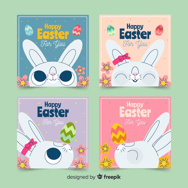 Collection de cartes de pâques mignon lapin Vecteur gratuit