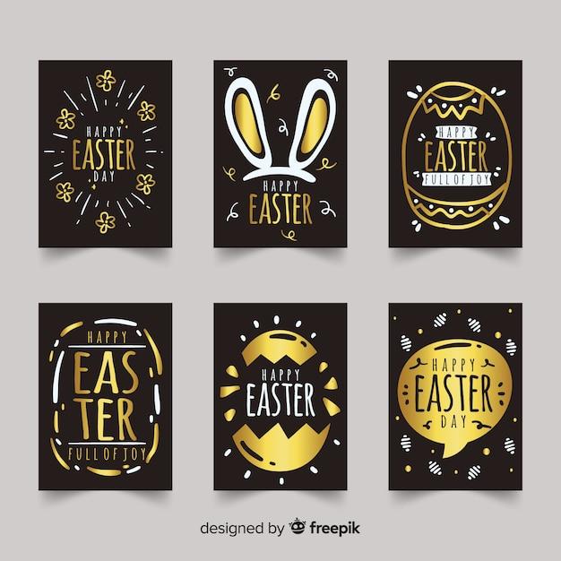 Collection de cartes de pâques en noir et or Vecteur gratuit