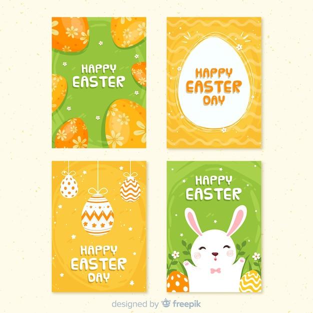 Collection de cartes de pâques oeufs décorés Vecteur gratuit