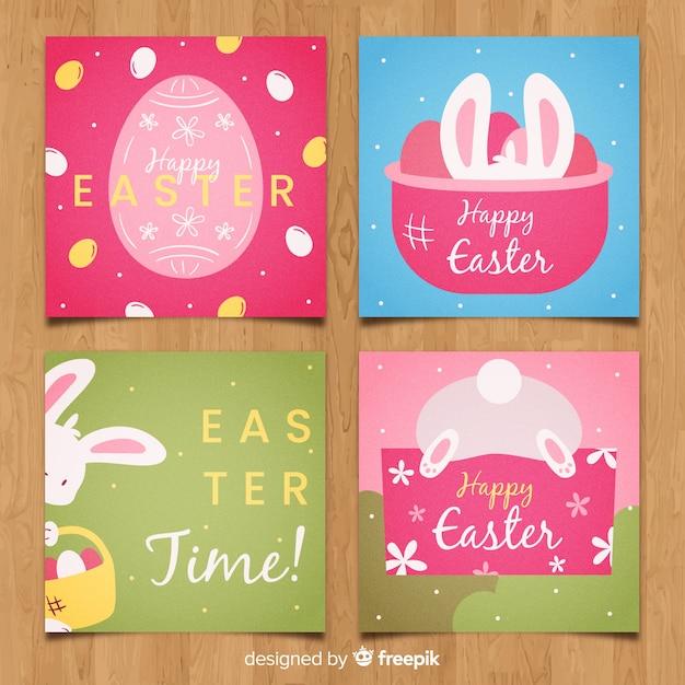 Collection de cartes de pâques Vecteur gratuit