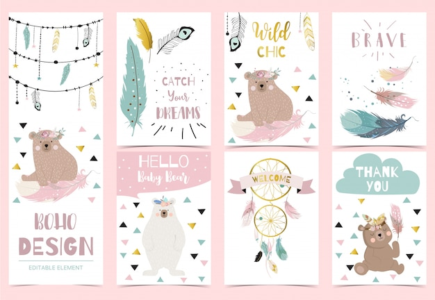 Collection de cartes postales boho avec plume Vecteur Premium
