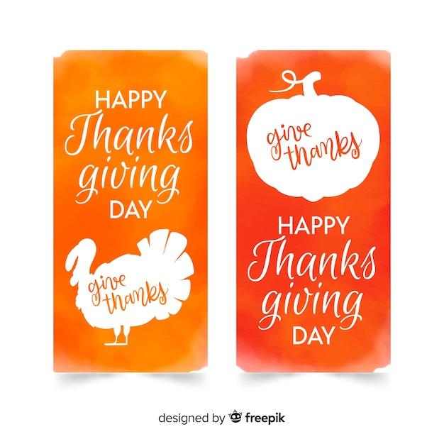 Collection de cartes pour le jour de thanksgiving à l'aquarelle Vecteur gratuit
