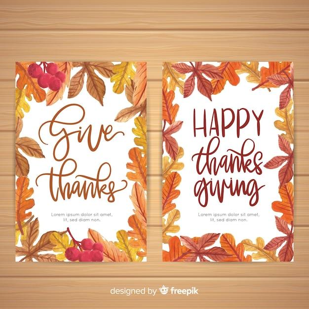 Collection de cartes pour le jour de thanksgiving à l'aquarelle Vecteur gratuit