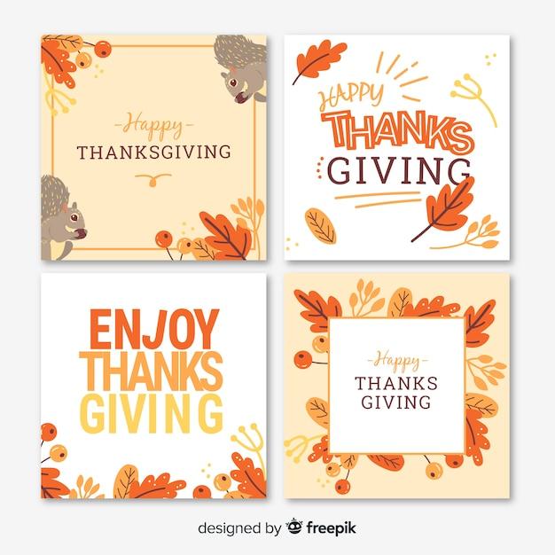 Collection de cartes pour le jour de thanksgiving en design plat Vecteur gratuit