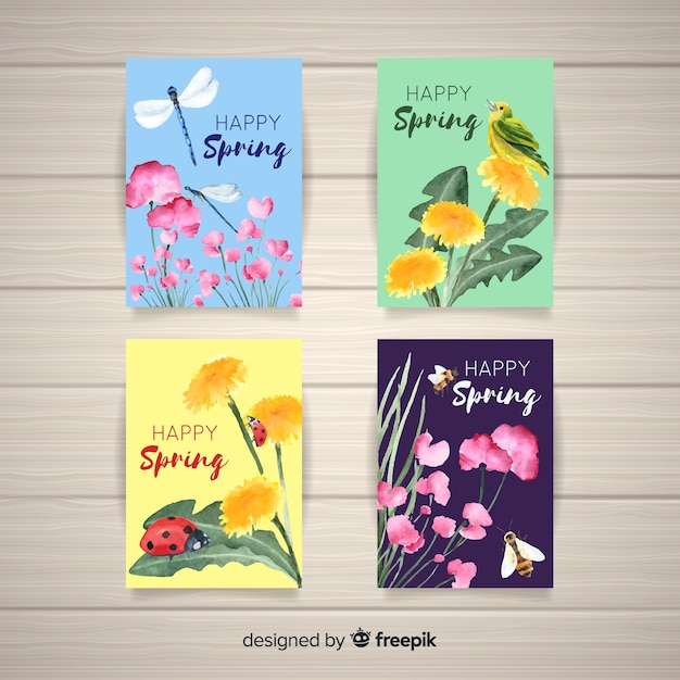 Collection de cartes de printemps Vecteur gratuit