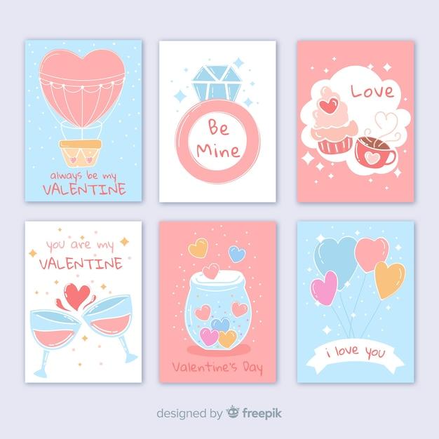 Collection de cartes de saint valentin aux couleurs pastel Vecteur gratuit