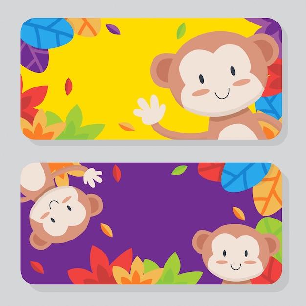 Collection de cartes de singe mignon Vecteur Premium