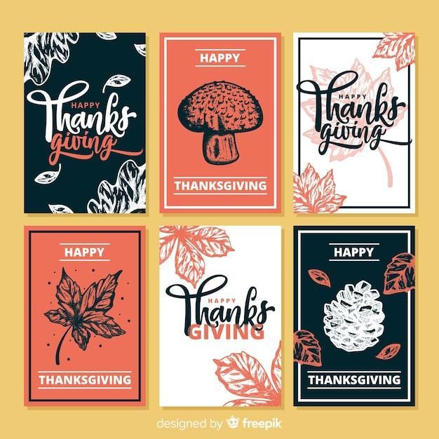Collection de cartes de thanksgiving dessinée à la main Vecteur gratuit