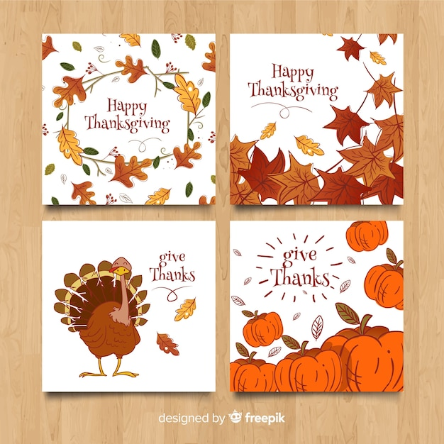 Collection de cartes de thanksgiving dessinée à la main Vecteur gratuit
