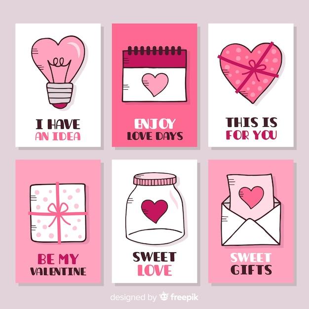 Collection de cartes valentine Vecteur gratuit