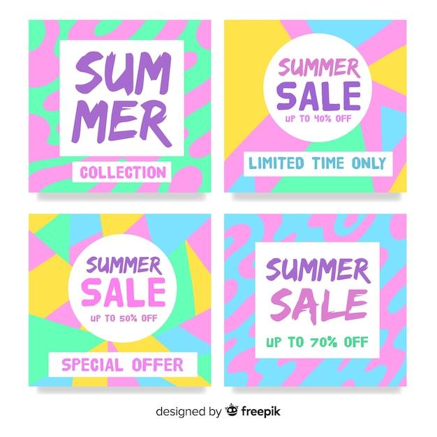 Collection de cartes de vente d'été coloré Vecteur gratuit