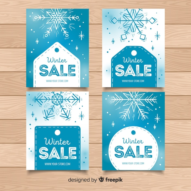 Collection de cartes de vente d'hiver pour les flocons de neige et les étiquettes Vecteur gratuit