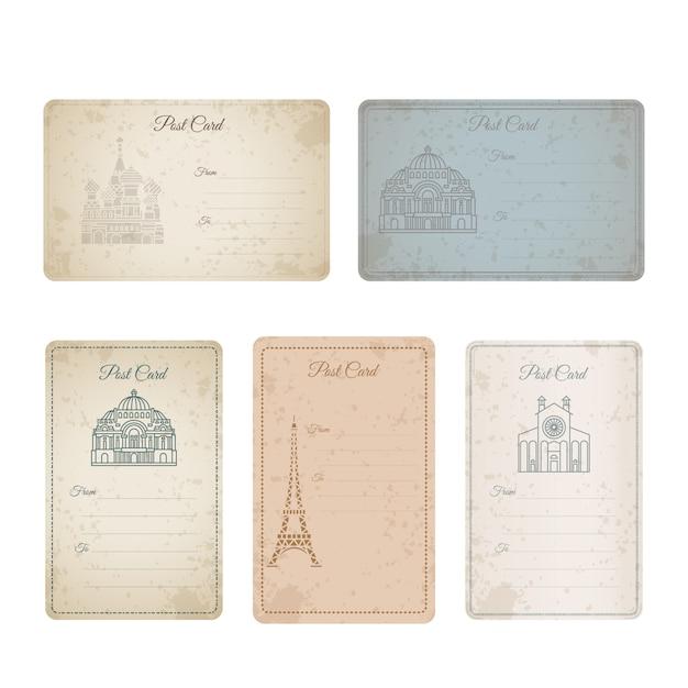 Collection de cartes vintage grunge de carte postale Vecteur Premium