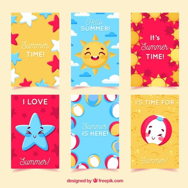 Collection de cartes de voeux d'été Vecteur gratuit
