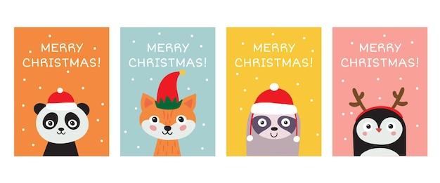 Collection De Cartes De Voeux Joyeux Noël. Panda D'animaux Mignons Dessinés à La Main, Renard, Paresseux, Pingouin Vecteur Premium