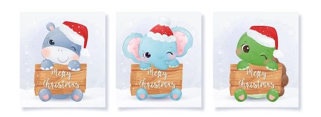 Collection De Cartes De Voeux De Noël Avec De Jolis Bébés Animaux Vecteur Premium