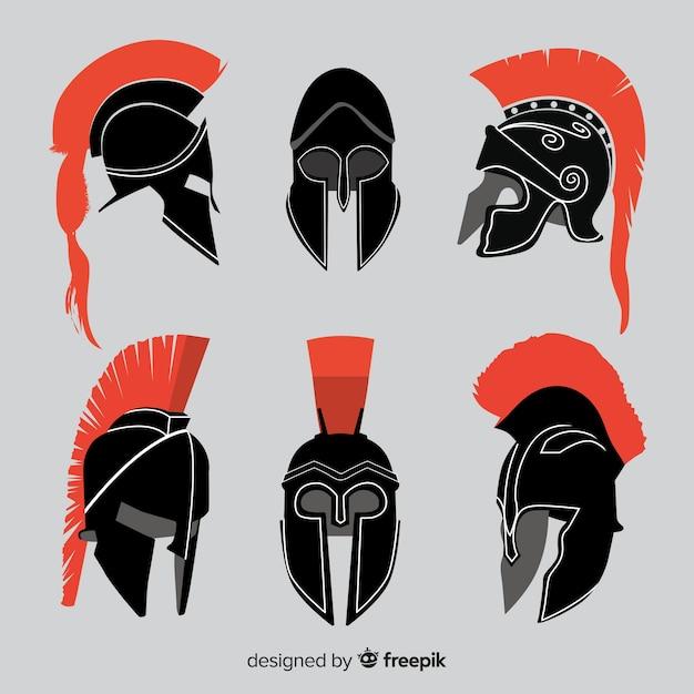 Collection de casque silhouette spartan Vecteur gratuit