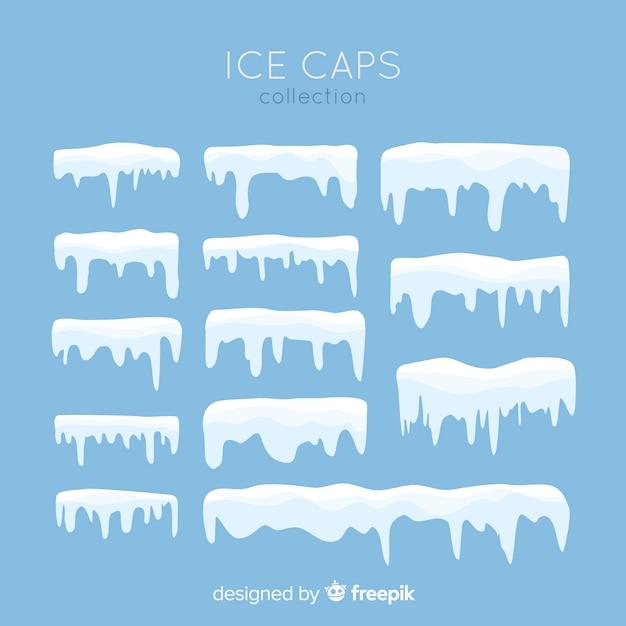 Collection casquette de neige plate Vecteur gratuit