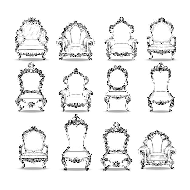 Collection de chaises décoratives Vecteur gratuit