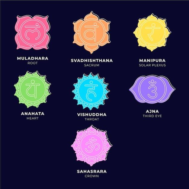 Collection De Chakras Colorés Vecteur gratuit