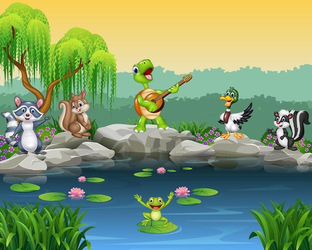 Collection de chants d'animaux heureux de dessin animé Vecteur Premium
