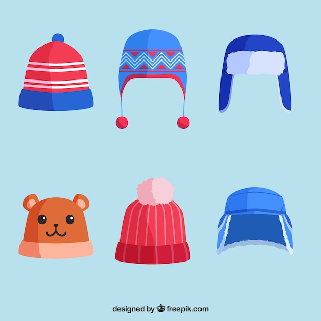 Collection de chapeaux d'hiver de six Vecteur gratuit