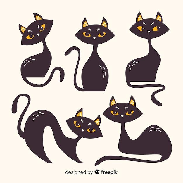 Collection de chat d'halloween au design plat Vecteur gratuit
