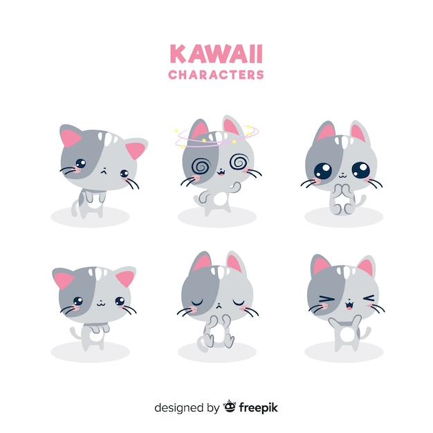 Collection de chats kawaii dessinés à la main Vecteur gratuit
