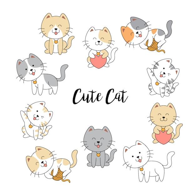 Collection de chats mignons dessinés à la main Vecteur Premium