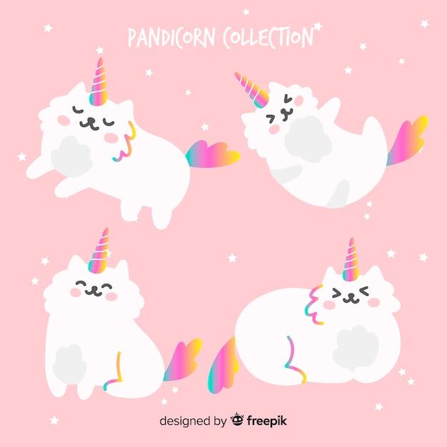 Collection de chats de style licorne kawaii Vecteur gratuit