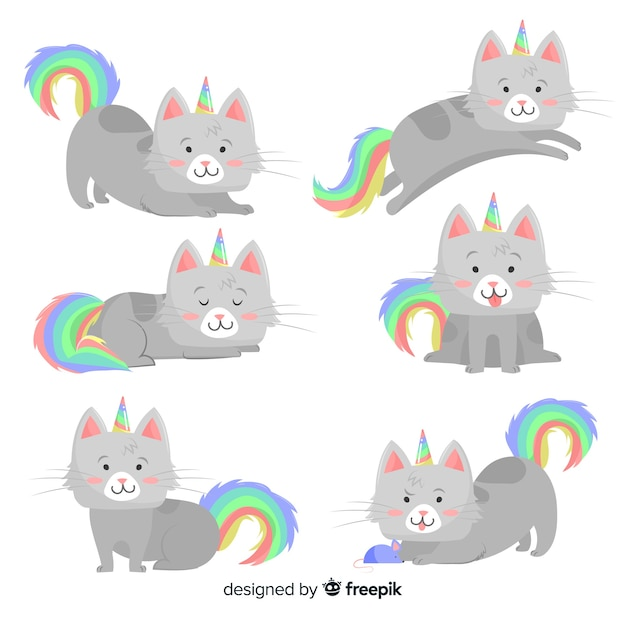 Collection de chats de style licorne kawaii Vecteur gratuit