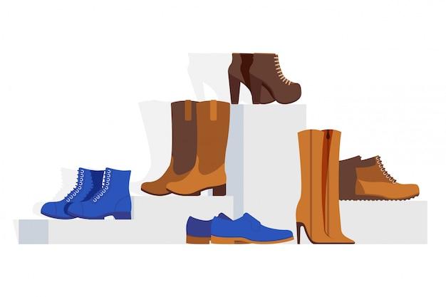 Collection De Chaussures De Type Différent Pour Femmes, Illustration. Vitrine De Chaussures En Ligne, Talons Aiguilles, Bottines, Bottes Western Vecteur Premium