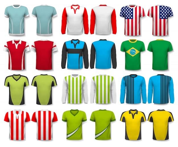 Collection De Chemises Diverses. Modèle. Le T - Shirt Est Transparent Et Peut être Utilisé Comme Modèle Avec Votre Propre Design. Vecteur Premium