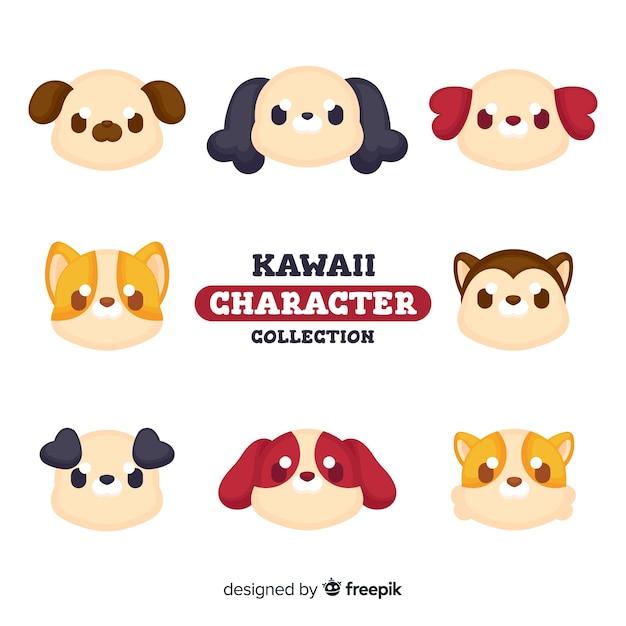 Collection de chiens kawaii Vecteur gratuit