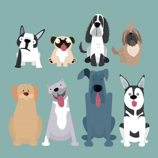 Collection de chiens Vecteur Premium