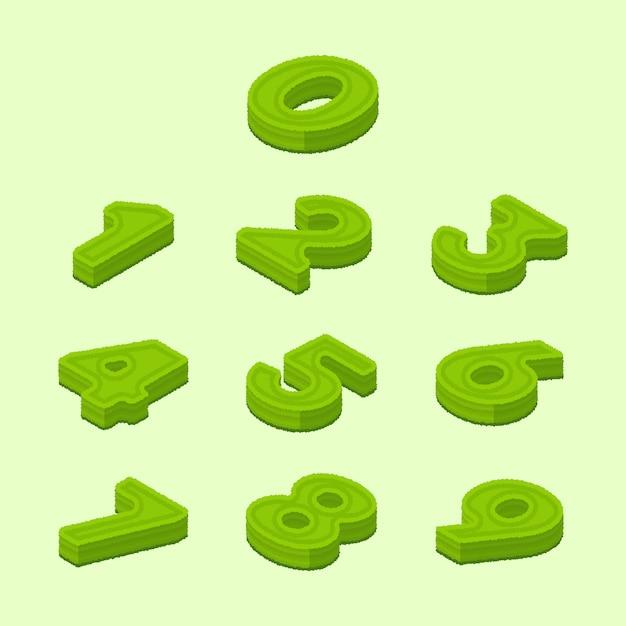 Collection de chiffres de style de haie isométrique moderne 0-9 Vecteur Premium