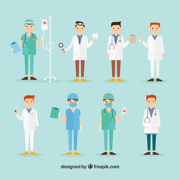 Collection de chirurgien et médecin Vecteur gratuit
