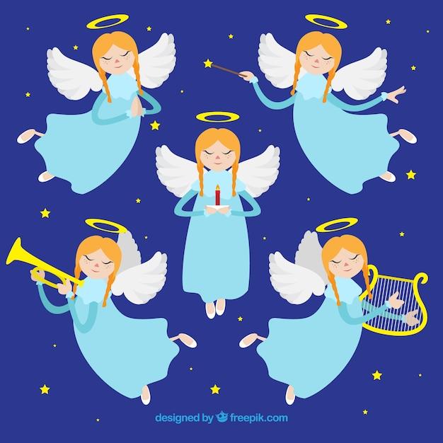 Anges De Noel Collection De Cinq Anges De Noël Jouant De La Musique | Vecteur