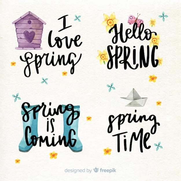 Collection de citations de lettres de printemps Vecteur gratuit