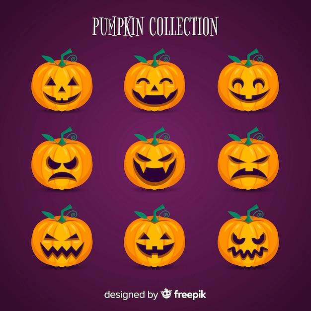 Collection de citrouilles d'halloween au design plat Vecteur gratuit