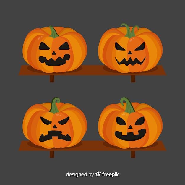 Collection de citrouilles d'halloween design plat Vecteur gratuit