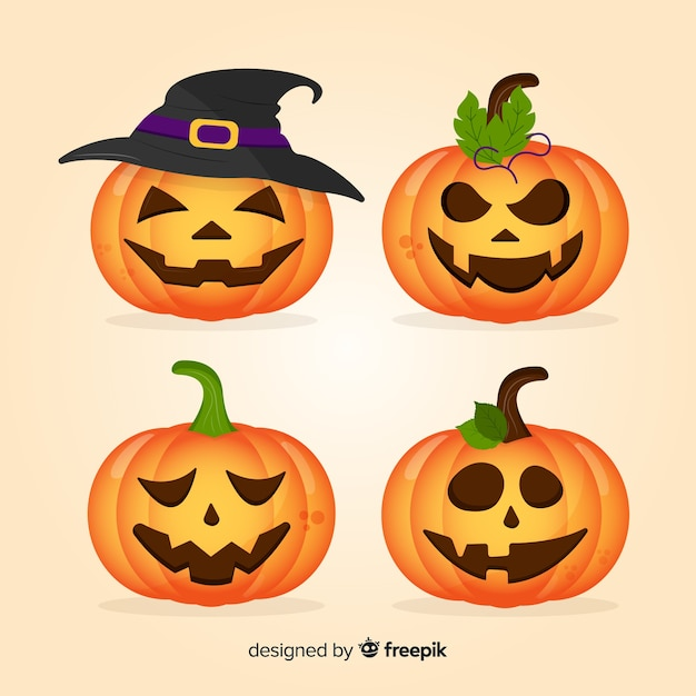 Collection de citrouilles d'halloween design plat Vecteur gratuit