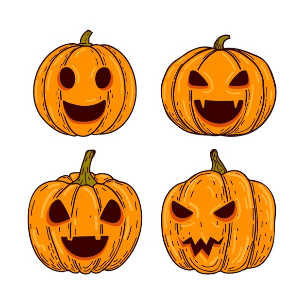 Collection De Citrouilles D'halloween Dessinés à La Main Vecteur gratuit