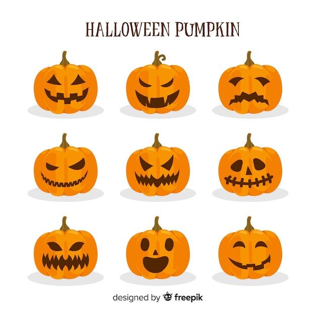 Collection de citrouilles d'halloween avec différents visages Vecteur gratuit
