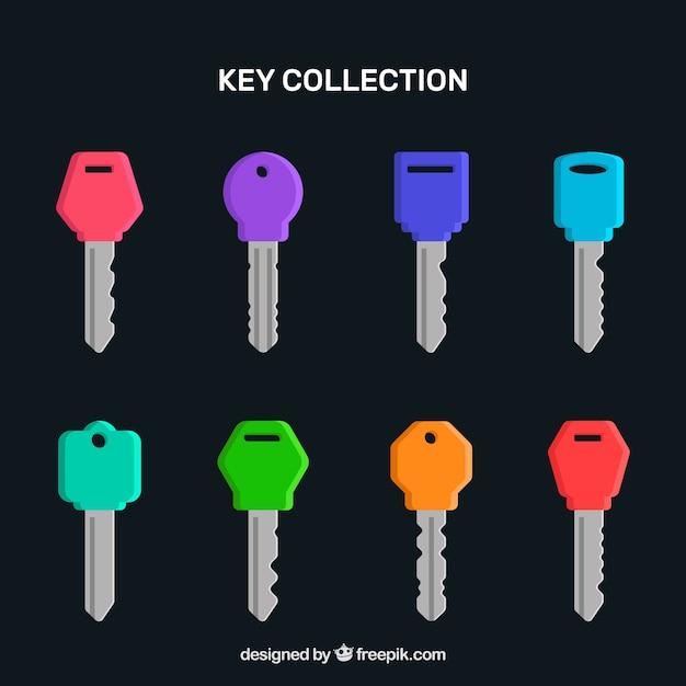 Collection De Clés Colorées Vecteur gratuit